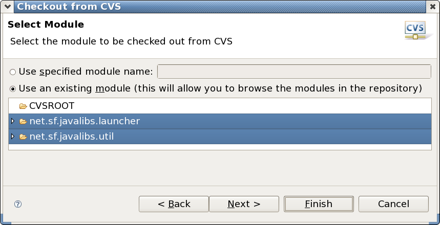Selecting modules in the CVS Repository